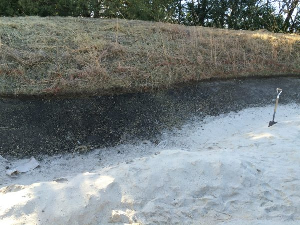 The newly defined edge to #5 right fairway bunker